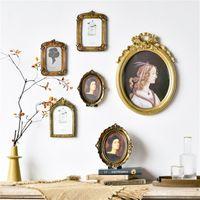 CuteLife Nordic ins 아트 홈 장식으로 수지 사진 벽 프레임 나무 그림 나무 그림 프레임 빈티지 모방 새겨진 그림 나무 프레임 201212