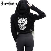 InsGoth Kadınlar Tişörtü Kırpılmış Kapüşonlular Gotik Kafatası Baskılı Siyah Gevşek Kısa Kapüşonlular Mesh Patchwork Kadın Streetwear Kapşonlu 201017