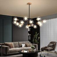 Nordic Blase Kronleuchter Beleuchtung für Wohn-Esszimmer Schlafzimmer Garderobe Villa Foyer Loft Treppen LED Glaskugel Hängeleuchte