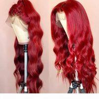 Onda corporal coloreado cabello humano encaje pelucas frontales 250% densidad hd transparente peluca 99j rojo burdeos remy peluca brasileña para mujeres negras