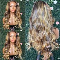 Seide Top Highlight Honig Blondine Volle Spitze Menschliches Haar Perücken Natürliche Haaranleitung Glueless Wellig Golden Pervuier 360 Frontal Stirnband