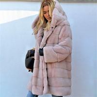 Umeko Sıcak Sonbahar Kış Faux Kürk Kapüşonlu Mont Kadınlar Uzun Kollu Kadife Artı Boyutu Dış Giyim Bayanlar Büyük Boy Zarif Palto 201209