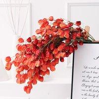 زهرة اصطناعية فانوس زهرة النبيذ الأحمر برعم فانوس الفاكهة شنقا الروطان الديكور المنزل مصنع الأخضر 97 سنتيمتر لحضور حفل زفاف