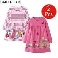 Saileroad 2 unids niña niña vestidos gato apliques otoño invierno niños traje bebé niñas ropa niños princesa vestido vestidos 201128