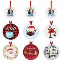 Árbol de navidad que cuelgan adornos colgantes 2020 Familia manuscrita Nombre Saludo máscara cara de la muñeca del muñeco de Inicio Decoraciones de Navidad VT1790