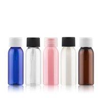 100pcs 30ml Les bouteilles vides cosmétiques PET avec couvercle à vis en plastique ronde petite bouteille d'échantillon brun clair bleu rose Conteneurs