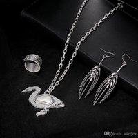 حزب مجموعة مجوهرات سوان بطة مجموعة مجوهرات الحيوان الرجال النساء بوهيميا