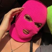 Masque de couverture plein de visage trois 3 trous chapeau tricoté tactique hiver ski cyclisme masque beanie chapeau foulard chaud chaud