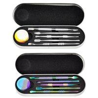 Conjunto de kit de ferramentas da DAB com 5ml contêiner de silicone 5pcs long Dabber Tools pacote único pacote para cera seca erva arco-íris prata DHL livre