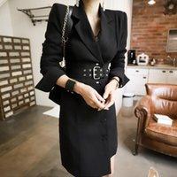 Yeni Stil Kore Sonbahar Kış Ofis Lady Kıyafetleri Tek Breasted Uzun İnce Blazer Ceket Kadınlar Tam Kol Blazers Moda SL081