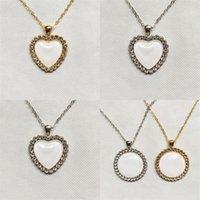 DIY Sublimation Blanks Druckbare Halskette Kristall Metall kreisförmige Herzkette Charme Mode Frauen Anhänger Valentinstag Geschenk 9RB N2