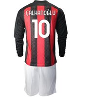 Manica lunga 20-21 11 Ibrahimovic 1Long manica 20-21 11 Ibrahimovic 10 Calhanoglu Soccer Jerseys Set con pantaloncini 56 Saeelmaekers 79 Kessie 3