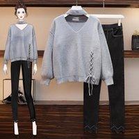 Tracksuits das Mulheres Grandes Yards Winter V-Neck Bowknot Sweater Calças de Calças Mulheres Mulheres Conjunto de Roupas De Roupas Vogue Lazer Senhora1