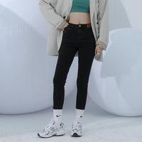 Jeans das mulheres Zhisilao Cintura alta Mulheres Streetwear Black Black Stretch Skinny Denim Calças 2021 Elastic Slim Lápis Plus Size
