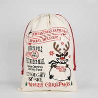 Hot Christmas Gift Bags Large Organic Heavy Canvas Bag Santa Sack Drawstring Bag With Reindeers Santa Claus Sack Bags for kids