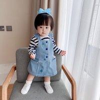 HAUTE QUALITÉ Bébé Baby Girls Denim Logous Robes d'été pour Girl Enfants Vêtements Combinaison Combinaison 6-36 Month Bleu Jardineira Jeans Robe pour nourrisson