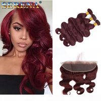 8A Burgoundy Human Hair Bundles Wave Hair Weave Weave Bundles con oreja a oreja Cierre de encaje frontal Brasil Pein 3 paquetes con cierre