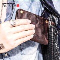 HBP AETOO Original ретро ручной кошелек мужской вертикальный полный кожаный персонализированный короткий кожаный кошелек молодежный прилив
