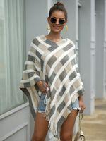 Frauen Pullover und Pullover 2020 Herbst Winter Stilvolle Mode Lange Strickwaren Plaid Quaste V-Ausschnitt Lose Casual Unregelmäßige Kleidung W1217