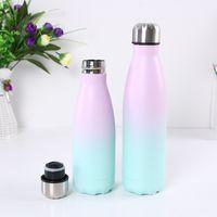 Süblimasyon 500 ml kola şişeleri degrade renk paslanmaz çelik kola su şişeleri çift cidarlı spor yalıtımlı şişeler 123 n2