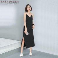 Kadınlar için SunDresses Siyah Yarık Yan Sümer Elbise Kapalı Omuz Yan Yarık Yaz Plaj Moda Sundress Soğuk Omuz 3684 Y1