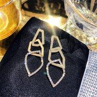Fyuan Fashion Lrregular geométrico pendiente para las mujeres exagerar el diamantes de imitación de oro Domale el pendiente de la joyería de la boda de los regalos1