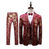 Мужские костюмы Blazers Корейская мода Флористическая стройная присвоение Джентльмены платье ночной клубный певец / сценический костюм хоста 3-х годов 3 часа костюма мужчины плюс размер1
