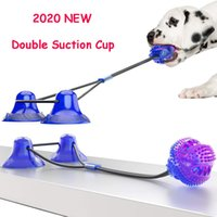 Yükseltilmiş Köpek Molar Isırık Oyuncak İşlevli Pet Çiğneme Oyuncaklar Çift Vantuz Köpek Köpekler için Köpek Çekme Topu Temizleme Diş Gıda Dağıtıcı LJ201125