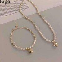 Hangzhi 2020 neue koreanische natürliche perlen gold silber farbe metall herz anhänger perlen choker halsketten für frauen party schmuck1