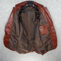 Mode Mens Hommes Cuir Véritable Cuir Veste Blazer à rayures Vintage imprimé Vintage manteaux Simple Bureau Homme Blouson Cuir Homme1