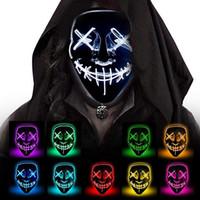 할로윈 공포 마스크 LED 퍼지 선거 마스카라 의상 DJ 파티 조명 마스크가 어두운 10 색상으로 빛나는 마스크