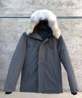 Gran coyote piel impermeable nuevo hombre grueso hacia abajo Canadá EE. UU. Estilo de los Estados Unidos Abrigo de la Parka Abrigo de invierno Chaqueta caliente -30 Grado