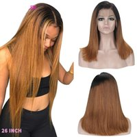 Straight 13*4 Lace Front Human Hair Wigs Ombre 2# Brown Color Wig Density 130% 150% Brazilian Remy Hair Bleached Knots
