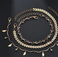 Três Piece Set Mulheres Ankle Jóias Folha Rhinestone Ferro Folhas Pequenas Lady Moda Tornozelos pulseiras Hot Sale 3 74gt J2B