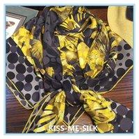 Bufandas KMS GLAZE GOLDING PEACOCK SHEILT SHEILL Bufanda lavada con arena Seda Pura Mora de Seda para las mujeres 135 * 135cm / 120g1