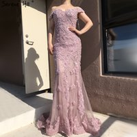Rosa Mermaid Boat Neck Sexy Vestidos Lace Pears diamante elegante forma formal Vestido Real Photo La6560 Y200930