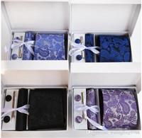 14 Renkler Ipek Klasik Erkekler Boyun Kravatlar Klip Hanky Kol Düğmeleri Setleri Çiçek Marka Örgün Giyim İş Kravat Seti Düğün Parti Erkek Kravat