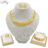 Liffly New Dubai Gold Conjuntos de Jóias para Mulheres Jóias Índicas Casamento Africano Presente Bridal Colar Bracelete Brincos Conjunto Atacado 201222