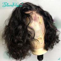 Perulu Kısa Su Dalga Bob Peruk 13x4 Dantel Ön İnsan Saç Peruk PrePlucked Tutkalsız Remy ağartılmış Öncesi Mızraplı Kıvırcık Saç