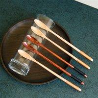 tahta kaşıklar Doğal Uzun Sap karıştırma Ahşap Kaşık İçecek Tatlı Bal Kahve 20cmx1.3cm LX1702 için