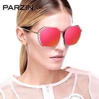 PARZIN Sunglasses Mulheres do metal do vintage óculos polarizados Mulheres coloridas UV Feminino Driving Sun Glasses Shades com caso 8087