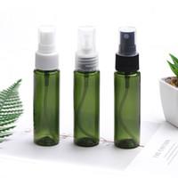 30 mi PET plastik el dezenfektanı şişe seyahat taşınabilir alt ambalaj şişe düz omuz koyu yeşil püskürtme pompası