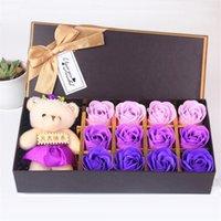 12 قطعة روز علبة هدية رومانسية روز الاصطناعي الصابون زهرة مع لعبة الدب علبة هدية عيد الأم عيد الحب وردة هدية DHA2296