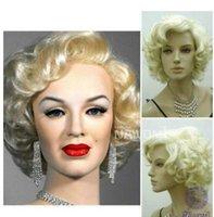 مارلين مونرو جميلة قصيرة شقراء مجعد الباروكات الشعر الكلاسيكية تأثيري الباروكات