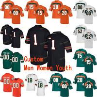 Custom Miami Hurricanes College Football Jersey 7 Al Klingen Jr.80 Jimmy Graham 94 Dwayne Johnson 97 Jonathan Garvin Männer Frauen Jugend genäht