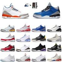 nike air jordan retro 3 3s Top qualité 2020 Chaussures de basket-ball en satinJordan 3 3s Ciment Bleu Knicks Rivals Pure White JUMPMAN Tinker rouge UNC Laser orange Sneakers