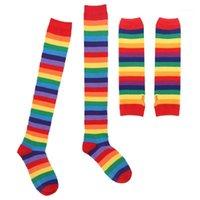 Женщины Девушки Красочные Радуга Полосатые Коленые Бережки Высокие Носки Чулки Перчатки Идеально Для Хэллоуин Костюм Fun Party Cosplay Tire1