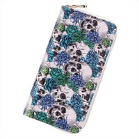 Fashion Women Wallets Punk Rock Skeletons Skull Long Clutch ...