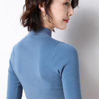 Gejasainyu2020new Spring Женские свитеры с коротким рукавом Turtleneck Кашемир свитер Женщины вязаный пуловер Sceter лето топ
