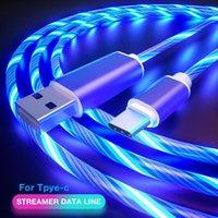 LED الوهج تتدفق نوع C كابل الضوئي الملون TPE سبيكة كابلات الشحن مايكرو USB الكابل لسامسونج هواوي XIAOMI الروبوت سلك الحبل